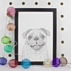 Pug Dog Line Portrait Print