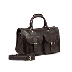 TheCompanion Dark Brown Leather Duffle Weekender Bag - 18