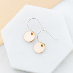 Petite disc drop earrings in rose gold and sterling silver