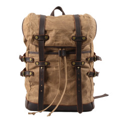 Brown Canvas Waterproof Backpack/Laptop Bag With Leather Details