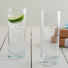 Personalised 'Will You Be My Best Man?' Hi Ball Glass