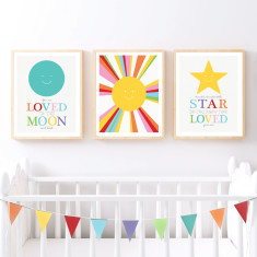 Sun moon and stars set of prints