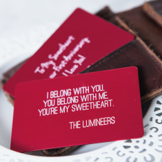 Personalised song lyrics wallet card