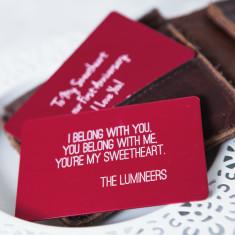 Personalised song lyrics wallet card