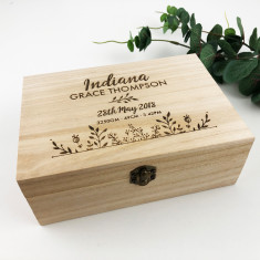 Personalised Botanical Birth Details Keepsake Box