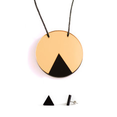GEO necklace & earrings gift set - circle gold and black