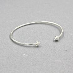 Silver double spike cuff bracelet