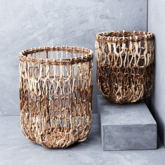 Waterhyacinth organic open weave baskets