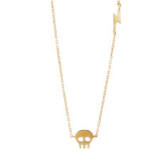 Skull and lightning necklace gold vermeil