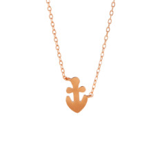 Anchor necklace in rose gold vermeil