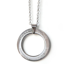 Engraved classic circle pendant necklace
