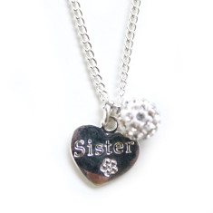 Girls' sister heart necklace