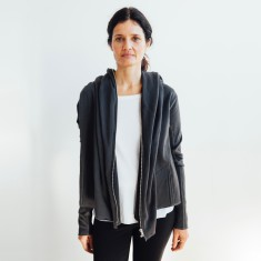 Shawl Collar Track Jacket in Charcoal