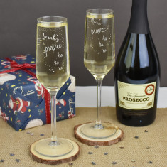 Prosecco Ho Ho Ho Personalised Christmas Glass