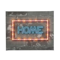 Neon-style HOME illuminated canvas