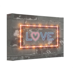 Neon-style LOVE illuminated canvas