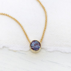 Alexandrite Necklace in 18ct Gold, June Birthstone