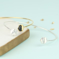 Hexagonal Marble Feature Bangle