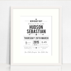 New baby personalised birth prints (boys and girls)