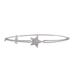 Solid star string bracelet with genuine cubic zirconia