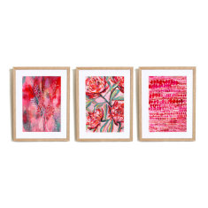 Set of 3 Pink and Red Art Prints illustration