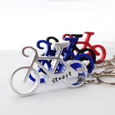 Personalised hand stamped Bike Cycling key ring in silver, black, red or blue