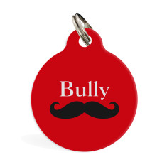 Personalised standard pet ID tag (moustache)