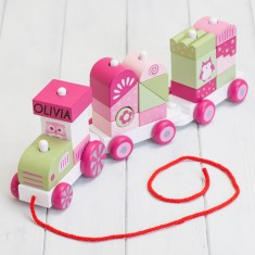 Personalised Wooden Building Blocks Train