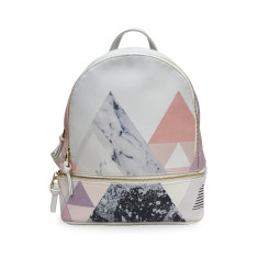 Small Vegan Leather Grey & Marble Backpack / Rucksack