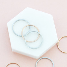 Sweet stacking rings in silver and rose gold