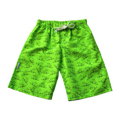 Boys' chlorine-resistant boardshorts in Surfing Dogs Lime
