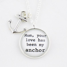 Mum you love has been my anchor silver or antique chain necklace