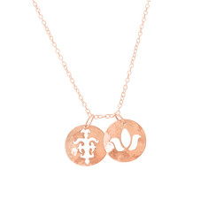 Disc charm necklace in rose gold plate