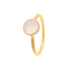 Cupcake Smaller Ring In Gold Plate With Rose Quartz
