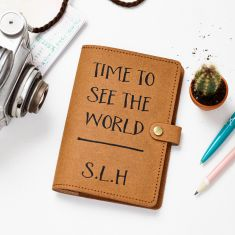 Recycled Leather Passport Time To See The World