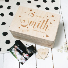 Personalised Wooden Wedding Memory Box