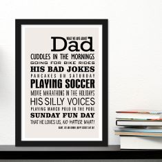 What we love about dad personalised print (various colours)