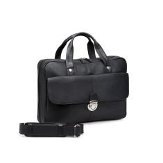 TheCultured Leather Press Lock Laptop Bag In Black