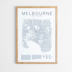 Melbourne outline map print