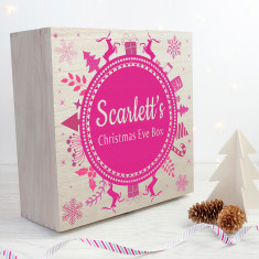 Personalised Christmas Eve Box With Snowflake Wreath - Pink - Large