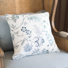 Blue and Grey Floral Cushion