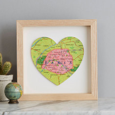 Personalised map location heart wedding or anniversary