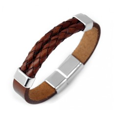 Men's brown double braided leather bracelet