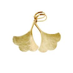 Hammered fine brass gingko earrings