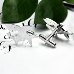 Sharks cufflinks in sterling silver