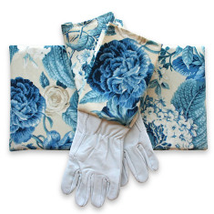 Gardeners kneeling pad & gloves in blue blooms