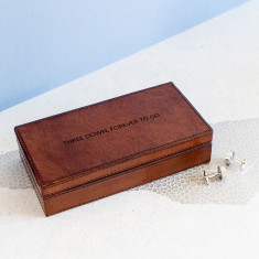 Three down, forever to go leather cufflink box