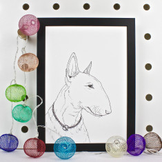 Bull Terrier Dog Portrait Print