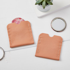 Dusky Pink Leather pocket mirror case