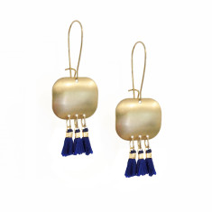 Fine brass cobalt tassel earrings